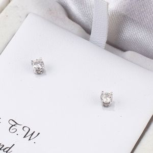 14K White Gold Small Diamond Stud Earrings 1/4 ct
